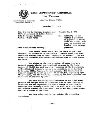 Primary view of object titled 'Texas Attorney General Opinion: M-753'.