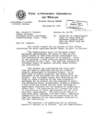 Primary view of object titled 'Texas Attorney General Opinion: M-758'.