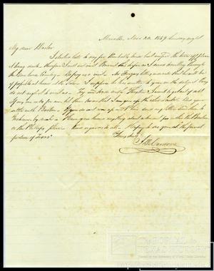 Primary view of object titled '[Letter from Jacob De Cordova, dated Nov. 20, 1859]'.