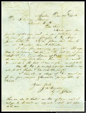 Primary view of object titled '[Letter to Dr. Thomas Moore from J. De Cordova, Dec. 17, 1856]'.