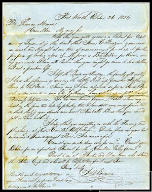 Primary view of object titled '[Letter to Dr. Thomas Moore from Jacob De Cordova, Oct. 26, 1856]'.