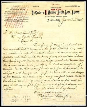 [Letter to L.H. Scrutchfield from De Cordova, Withers & Co.. June 30, 1874]