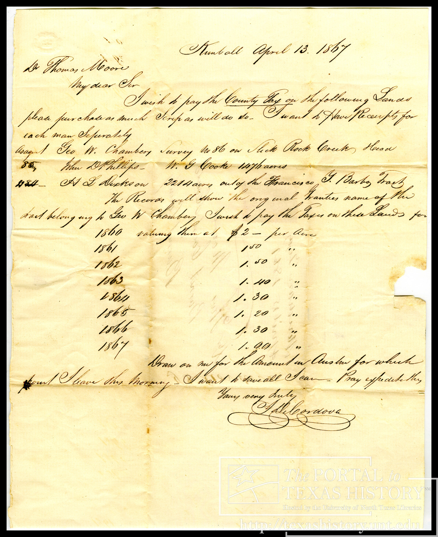 [Letter to Thomas Moore from Jacob De Cordova, April 13, 1867]                                                                                                      [Sequence #]: 1 of 2
