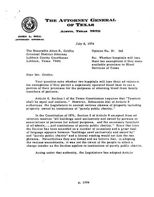 Primary view of Texas Attorney General Opinion: H-342
