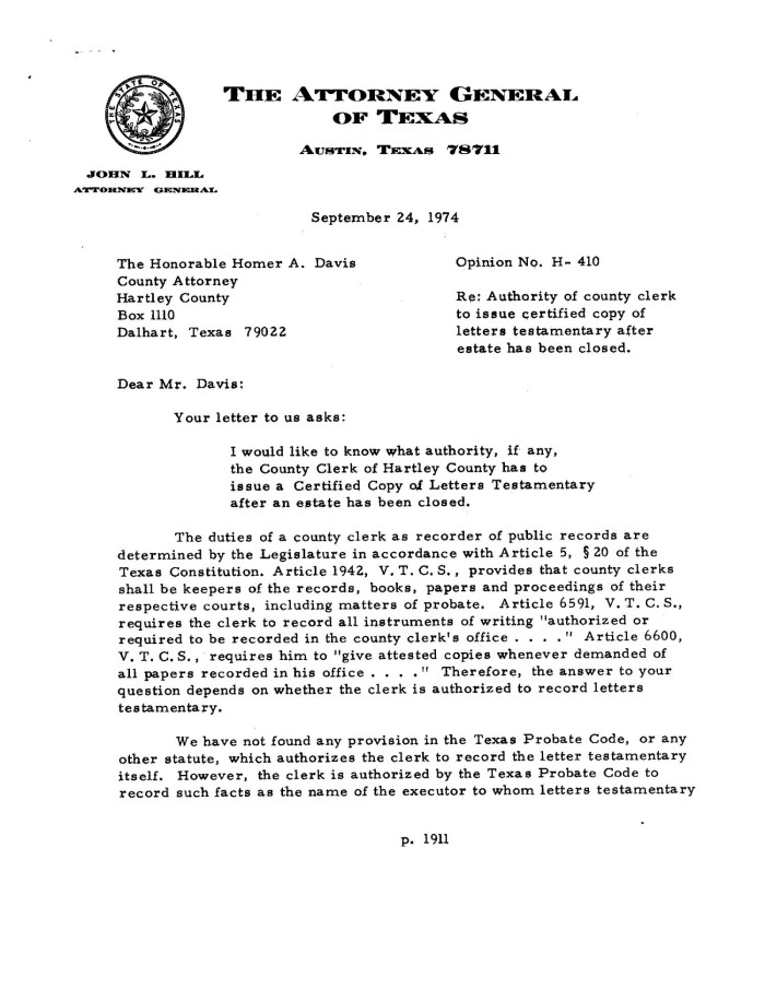 primary view of object titled texas attorney general opinion h 410