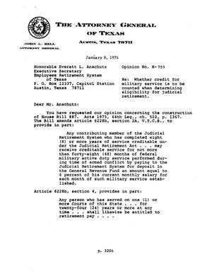 Primary view of object titled 'Texas Attorney General Opinion: H-759'.