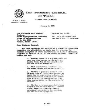 Primary view of object titled 'Texas Attorney General Opinion: H-761'.