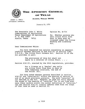 Primary view of object titled 'Texas Attorney General Opinion: H-764'.