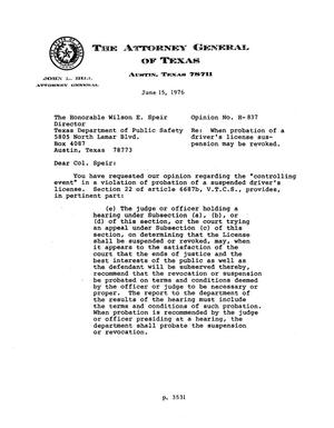 Primary view of object titled 'Texas Attorney General Opinion: H-837'.