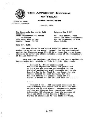 Primary view of object titled 'Texas Attorney General Opinion: H-839'.