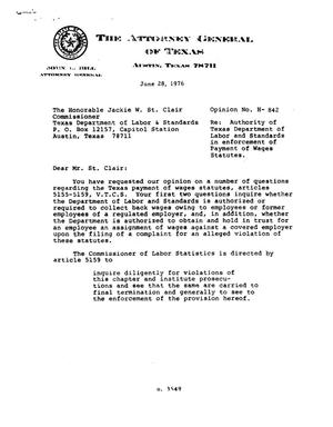 Primary view of object titled 'Texas Attorney General Opinion: H-842'.