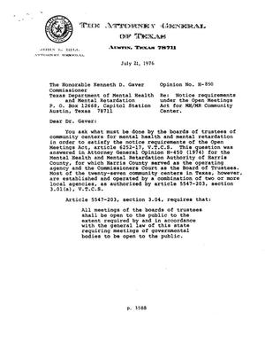 Primary view of object titled 'Texas Attorney General Opinion: H-850'.