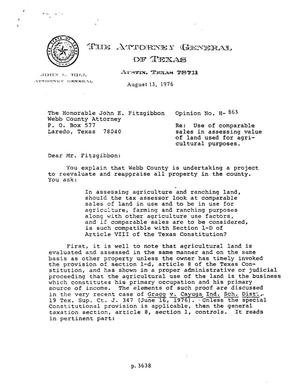Primary view of object titled 'Texas Attorney General Opinion: H-863'.