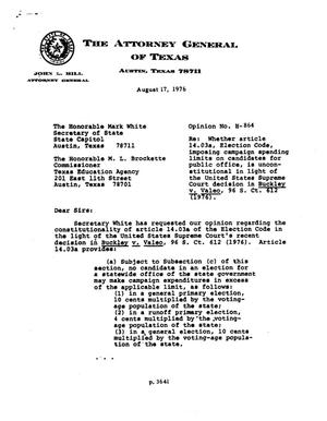 Primary view of object titled 'Texas Attorney General Opinion: H-864'.