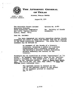 Primary view of object titled 'Texas Attorney General Opinion: H-866'.