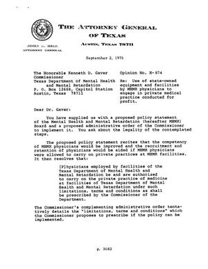 Primary view of object titled 'Texas Attorney General Opinion: H-874'.