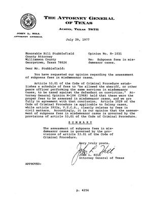 Primary view of object titled 'Texas Attorney General Opinion: H-1031'.