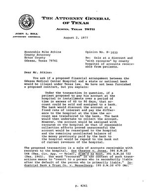 Primary view of object titled 'Texas Attorney General Opinion: H-1033'.