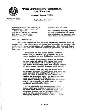 Primary view of object titled 'Texas Attorney General Opinion: H-1055'.