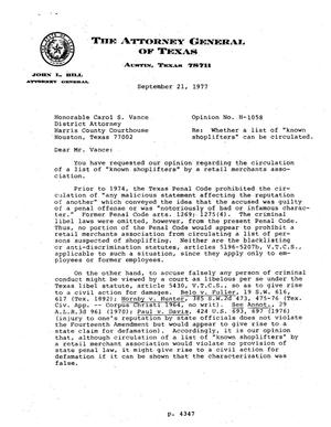 Primary view of object titled 'Texas Attorney General Opinion: H-1058'.