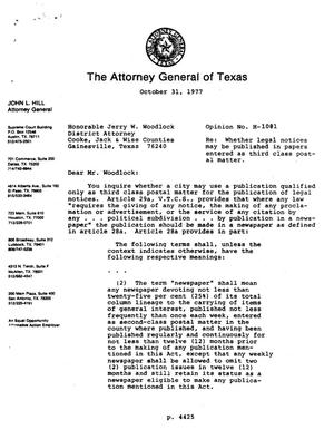 Primary view of object titled 'Texas Attorney General Opinion: H-1081'.