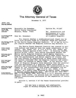 Primary view of object titled 'Texas Attorney General Opinion: H-1087'.