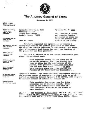 Primary view of object titled 'Texas Attorney General Opinion: H-1088'.