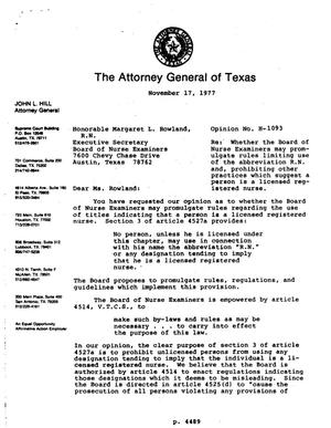 Primary view of object titled 'Texas Attorney General Opinion: H-1093'.