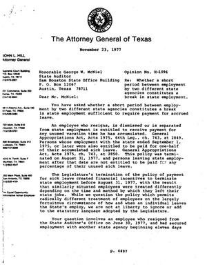 Primary view of object titled 'Texas Attorney General Opinion: H-1096'.