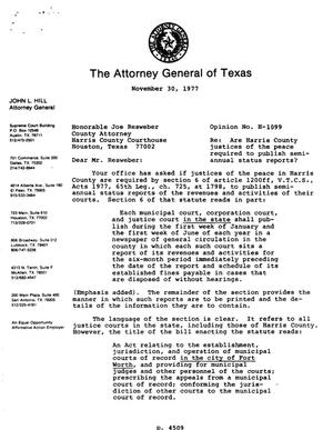 Primary view of object titled 'Texas Attorney General Opinion: H-1099'.