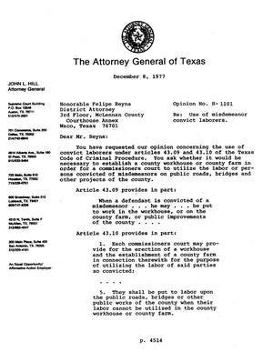 Primary view of object titled 'Texas Attorney General Opinion: H-1101'.