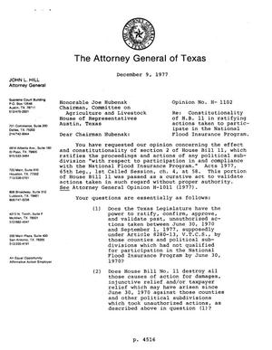 Primary view of object titled 'Texas Attorney General Opinion: H-1102'.