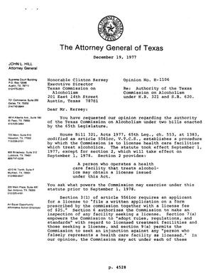 Primary view of object titled 'Texas Attorney General Opinion: H-1106'.