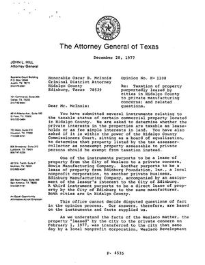 Primary view of object titled 'Texas Attorney General Opinion: H-1108'.