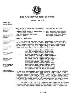 Primary view of object titled 'Texas Attorney General Opinion: H-1110'.