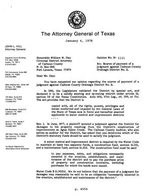 Primary view of object titled 'Texas Attorney General Opinion: H-1111'.