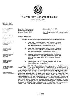Primary view of object titled 'Texas Attorney General Opinion: H-1112'.