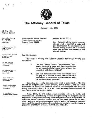 Primary view of object titled 'Texas Attorney General Opinion: H-1113'.