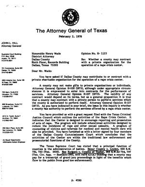 Primary view of object titled 'Texas Attorney General Opinion: H-1123'.