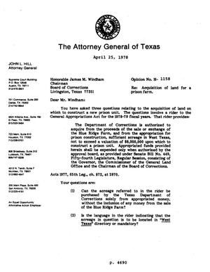 Primary view of object titled 'Texas Attorney General Opinion: H-1158'.