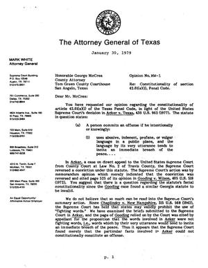 Primary view of object titled 'Texas Attorney General Opinion: MW-1'.
