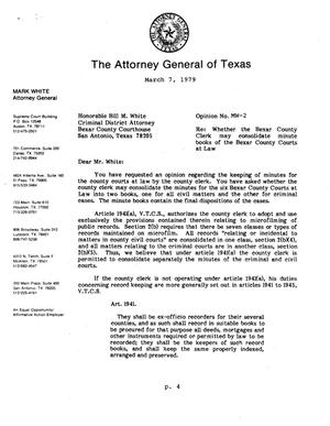 Texas Attorney General Opinion: MW-2