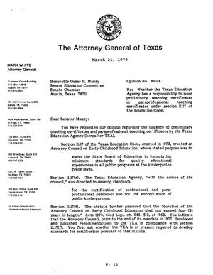 Primary view of object titled 'Texas Attorney General Opinion: MW-6'.