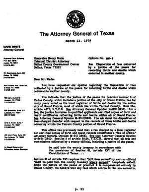 Texas Attorney General Opinion: MW-8