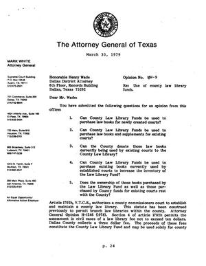 Primary view of object titled 'Texas Attorney General Opinion: MW-9'.
