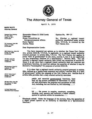 Primary view of object titled 'Texas Attorney General Opinion: MW-10'.