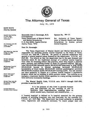 Texas Attorney General Opinion: MW-35