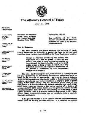Primary view of object titled 'Texas Attorney General Opinion: MW-36'.