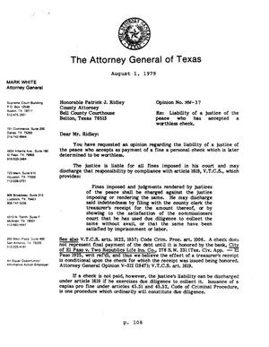 Primary view of object titled 'Texas Attorney General Opinion: MW-37'.