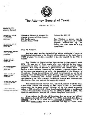 Texas Attorney General Opinion: MW-39